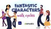 پروژه آماده افتر افکت با موزیک کاراکترهای در حال حرکت Fantastic Characters Walk Cycles
