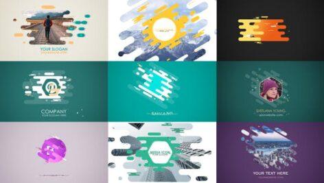 پروژه آماده افتر افکت لوگو با موزیک در ۱۰ حالت مختلف Flat Strokes Templates Set