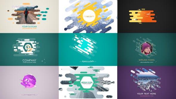 پروژه آماده افتر افکت لوگو با موزیک در 10 حالت مختلف Flat Strokes Templates Set