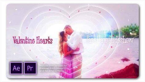 پروژه پریمیر اسلایدشو با موزیک پارالاکس ولنتاین Valentine Hearts Parallax Slideshow
