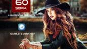 60 پریست لایت روم حرفه ای تک رنگ Sepia Mobile and Desktop PRESETS