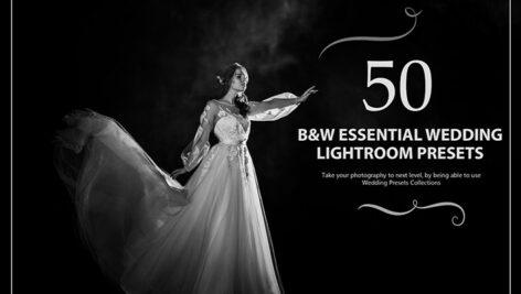 50 پریست لایت روم حرفه ای عروسی افکت سیاه و سفید B&W Essential Wedding Presets