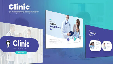 قالب پاورپوینت و گوگل اسلایدر تم کلینیک درمانی Clinic PowerPoint Presentation