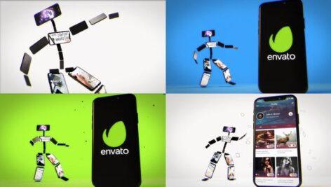 پروژه آماده افتر افکت حرفه ای تبلیغات موبایلی Dancing Phone Character