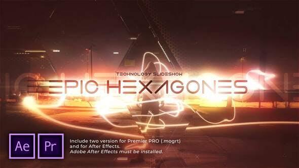 پروژه آماده پریمیر اسلایدشو سینمایی با موزیک Epic Hexagones Technology Slideshow