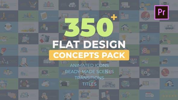 پکیج 350 سکانس پریمیر برای اینفوگرافیک Flat Design Concepts