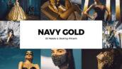 20 پریست لایت روم و لات رنگی و پریست کمراراو فتوشاپ تم طلایی Navy Gold Lightroom Presets & LUT
