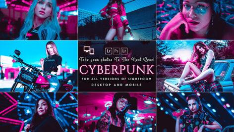 4 پریست لایت روم حرفه ای تم صورتی Cyberpunk Lightroom Presets