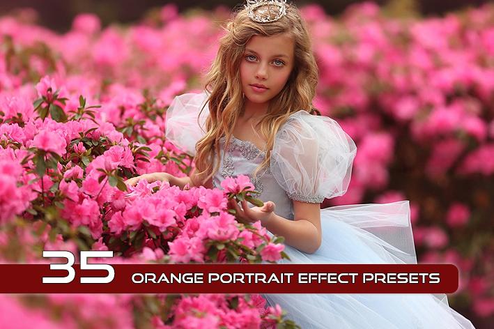 35 پریست لایت روم حرفه ای پرتره تم نارنجی Orange Portrait Effect Presets