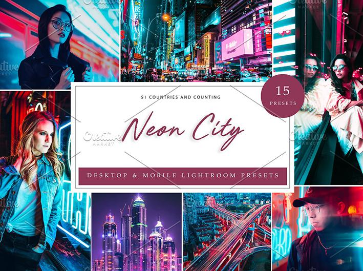 45 پریست لایت روم حرفه ای تم نور نئون Lightroom Presets Neon City