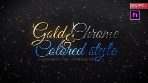 تایتل آماده پریمیر پرو 2021 تم فلزی و طلایی Gold Chrome Colored Steel Titles