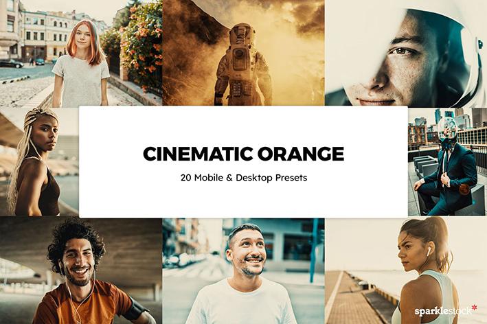 پریست لایت روم و پریست کمرا راو فتوشاپ و لات رنگی Cinematic Orange Lightroom Presets & LUTs