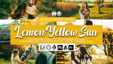 61 پریست لایت روم و کمرا راو و اکشن فتوشاپ و لات رنگی Lemon Yellow Sun Lightroom Presets