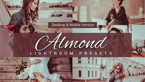 80 پریست لایت روم و کمرا راو و اکشن فتوشاپ و لات رنگی تم بادام Almond Lightroom Presets