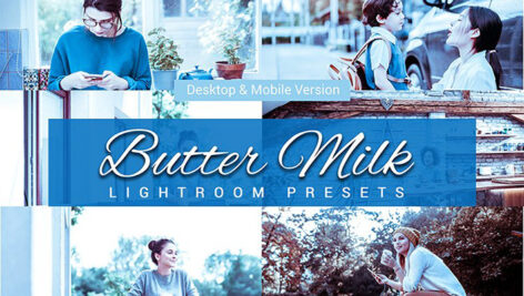 80 پریست لایت روم و کمرا راو و اکشن فتوشاپ و لات رنگی Butter milk Lightroom Presets