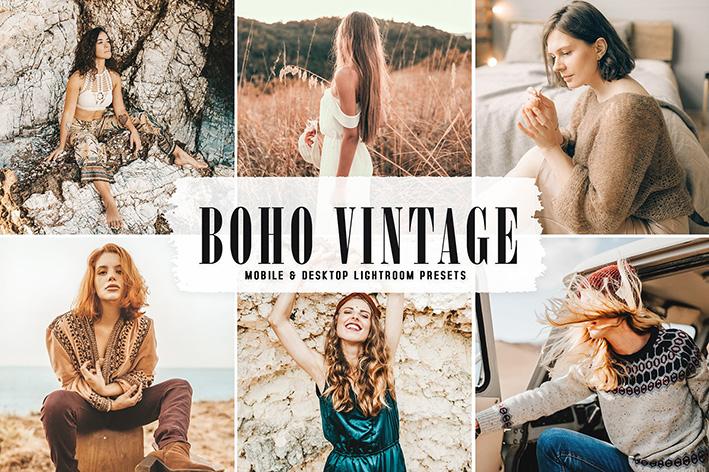 40 پریست لایت روم و پریست کمرا راو و اکشن فتوشاپ Boho Vintage Lightroom Presets