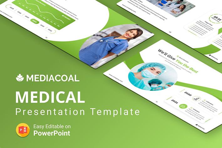 قالب پاورپوینت حرفه ای تم پزشکی Mediacoal – Medical PPT Presentation Template