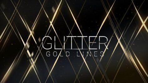 پروژه آماده افتر افکت تایتل افکت رشته های طلایی Glitter Gold Lines Award Titles