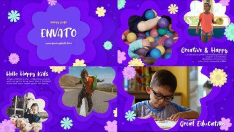 پروژه آماده پریمیر اسلاید شو رنگی کودکانه با موزیک Happy Kids Slideshow