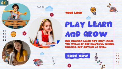 پروژه افتر افکت رزولوشن 4K تبلیغات مهد کودک Kids Promo Kindergarten Slideshow
