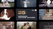 25 تایتل عروسی رزولوشن 4K افتر افکت Wedding Vintage Badges