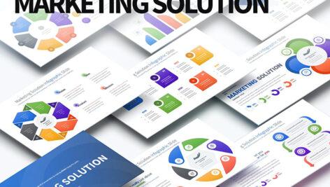 قالب پاورپوینت اینفوگرافیک حرفه ای Marketing Solution PowerPoint Infographics Slide