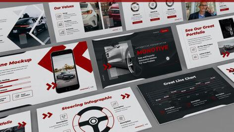 قالب پاورپوینت حرفه ای تم صنعت خودرو Monotive Automotive Powerpoint Template