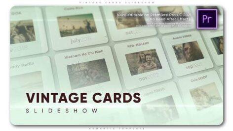 پروژه آماده پریمیر اسلایدشو افکت فریم قدیمی با موزیک Vintage Cards Slideshow