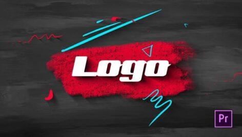 پروژه پریمیر لوگو افکت براش رنگ با موزیک Brush Scribble Logo