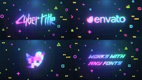 پروژه پریمیر لوگو رزولوشن 4K افکت دیجیتال Cyberpunk Logo And Title